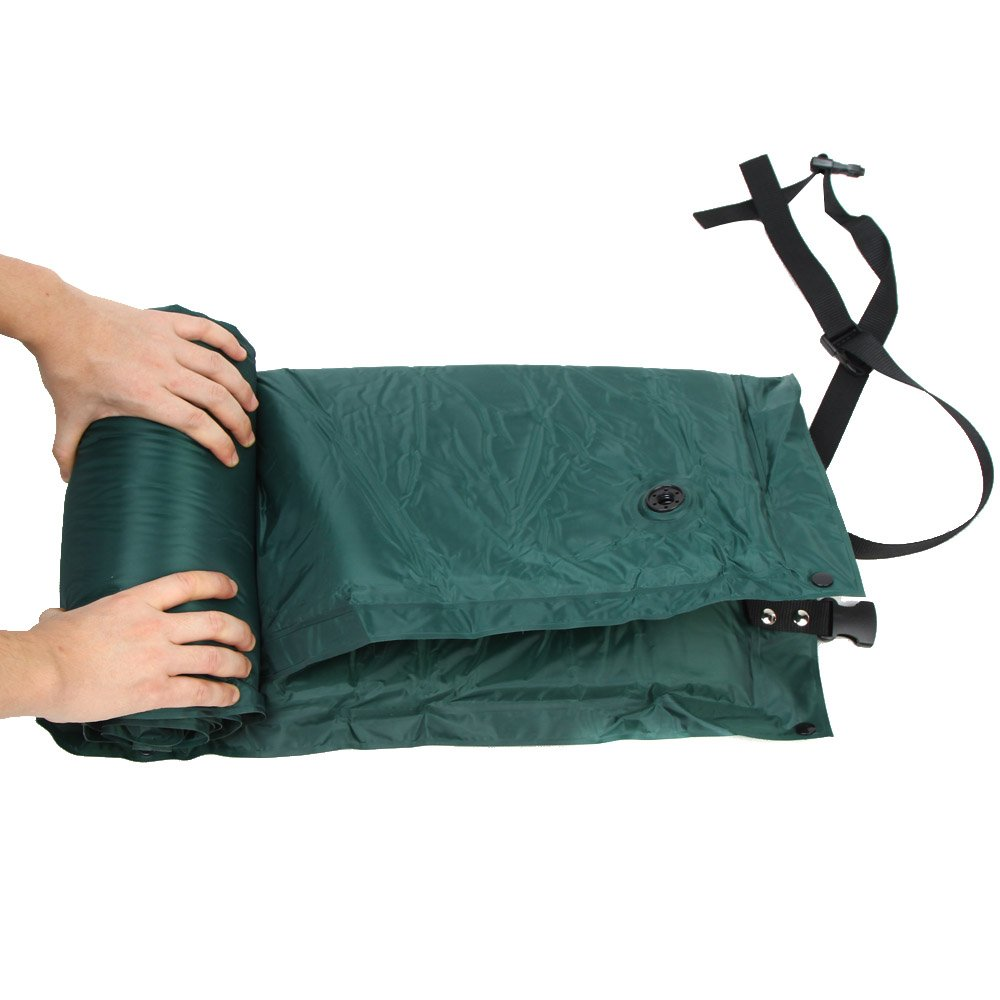 b35fa24dd80 Amazon.com   Babrit Outdoor Waterproof Dampproof Sleeping Pad Tent Air Mat  Mattress Camping Mat Built-in Pillow-Folded in half Green   Sports    Outdoors