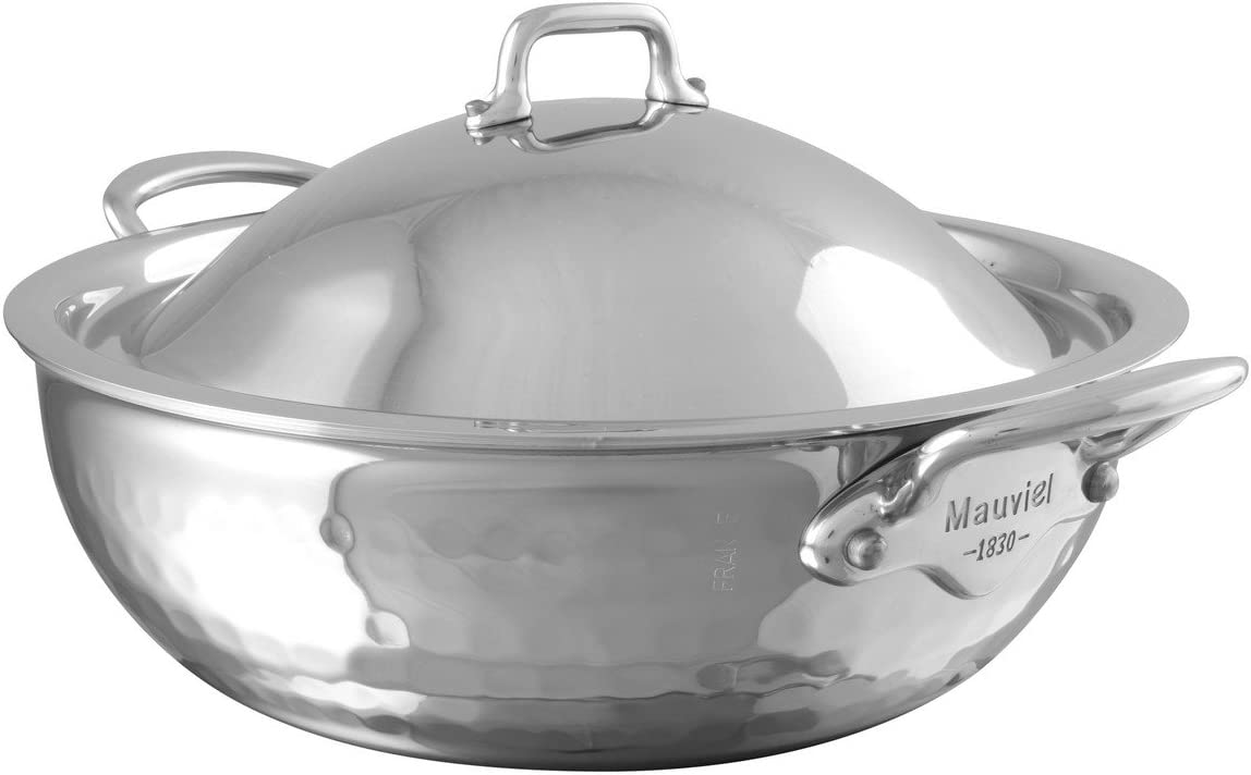 Mauviel 5272.25 MElite Curved splayed saute pan with lid 9.4 Stainless