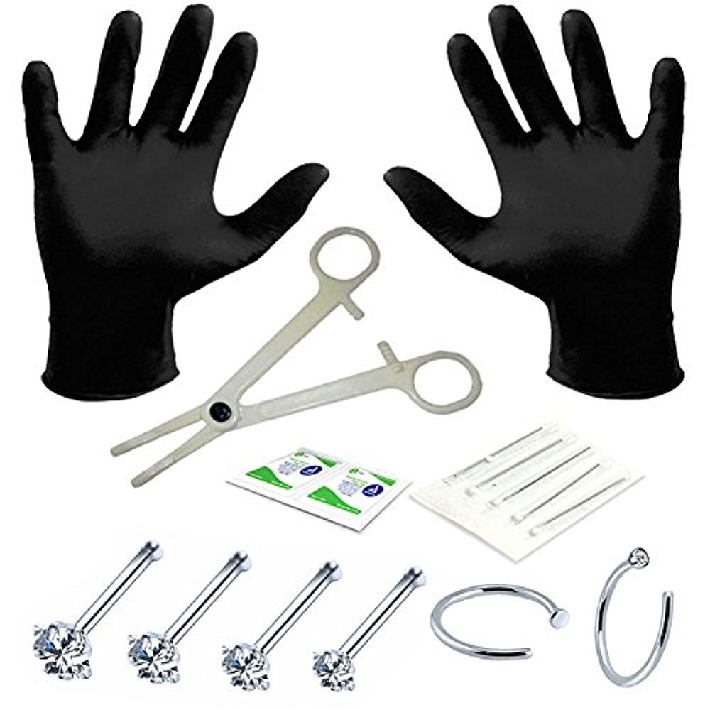BodyJ4You Professional Body Piercing Kit 15 Pieces for Nose Ring Bone Studs 20 Gauges 0.8mm