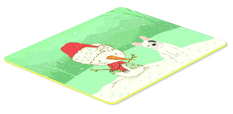 Carolines Treasures CK2087JCMT Piebald French Bulldog Snowman Christmas Kitchen or Bath Mat 24x36 24Hx36W Multicolor