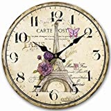 Lovely Paris 12″ Wall Clock, Eruner Family Decoration French Country 12-Inch Wood Clock Painted *Paris Carte Post* Retro Style(Paris, M4) Review