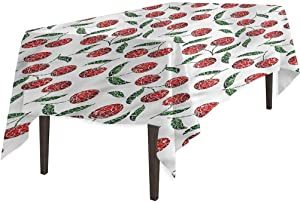 Aishare Store Rectangular Polyester Tablecloth, Garden Grunge Mosaic Style Cherries, Table Cover for Outdoor and Indoor, 54