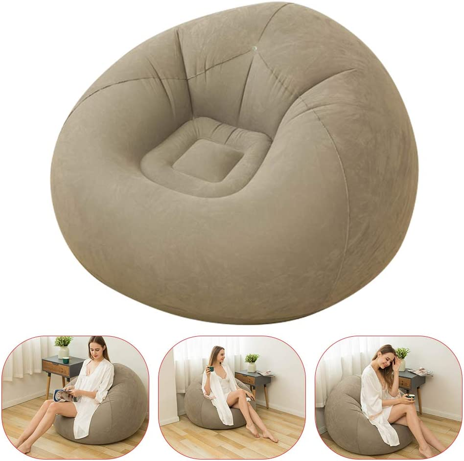Inflatable Chair, Foldable Family Inflatable Lounge Chair Sofa with Flocking Cover for Kids, Teens and Adults, Suitable for Home Rest or Office Rest, Outdoor Folding Sofa (Coffee, 43