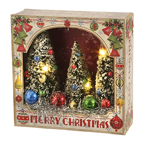 RAZ Imports Vintage Bottle Brush Trees 6 Inch Lighted Shadow Box