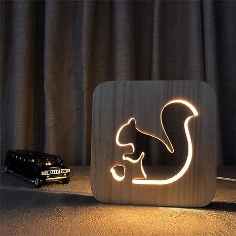 Amazon.com: L06 Luz nocturna creativa ardilla de madera ...