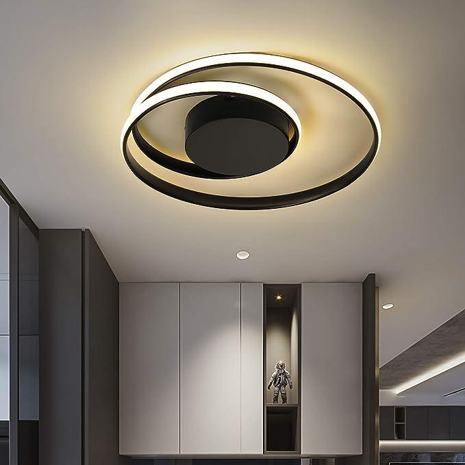 Oferta Modernas Luces Led De Techo Para Sala De Estar Dormitorio Comedor Luminarias Blanco Y Negro Lámparas De Techo Accesorios Ac110v 220v