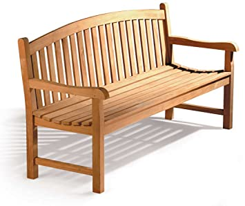 Jati Gloucester Teak Curved Back 3 Seater Garden Bench 5ft Garden