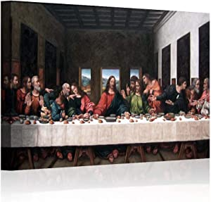 "Wall Decor Last Supper Painting Framed Large Jesus Oil Painting Black Canvas Pictures for Living Room Modern Posters and Prints Print Gallery Wrap Artwork Stretched Ready To Hang (12""x18""x1, Artwork-1)"