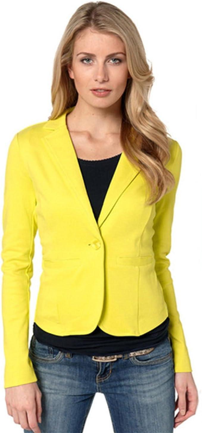 PINGMING Un Botón De Seminaristas Traje Sra Traje-chaqueta De Color Caramelo Camisa Casual, Yellow-S: Amazon.es: Ropa y accesorios