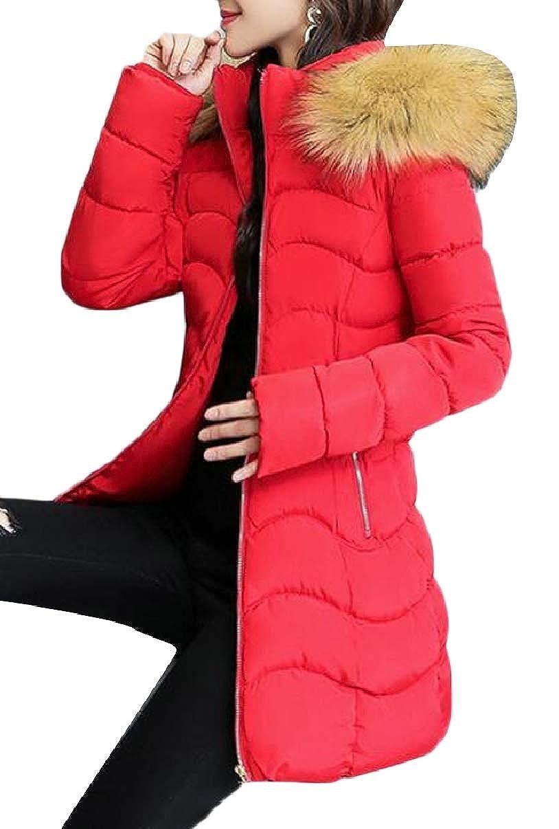 Red LEISHOP Womens Winter Warm Faux Fur Hoodie Down Puffer Jackets Coats