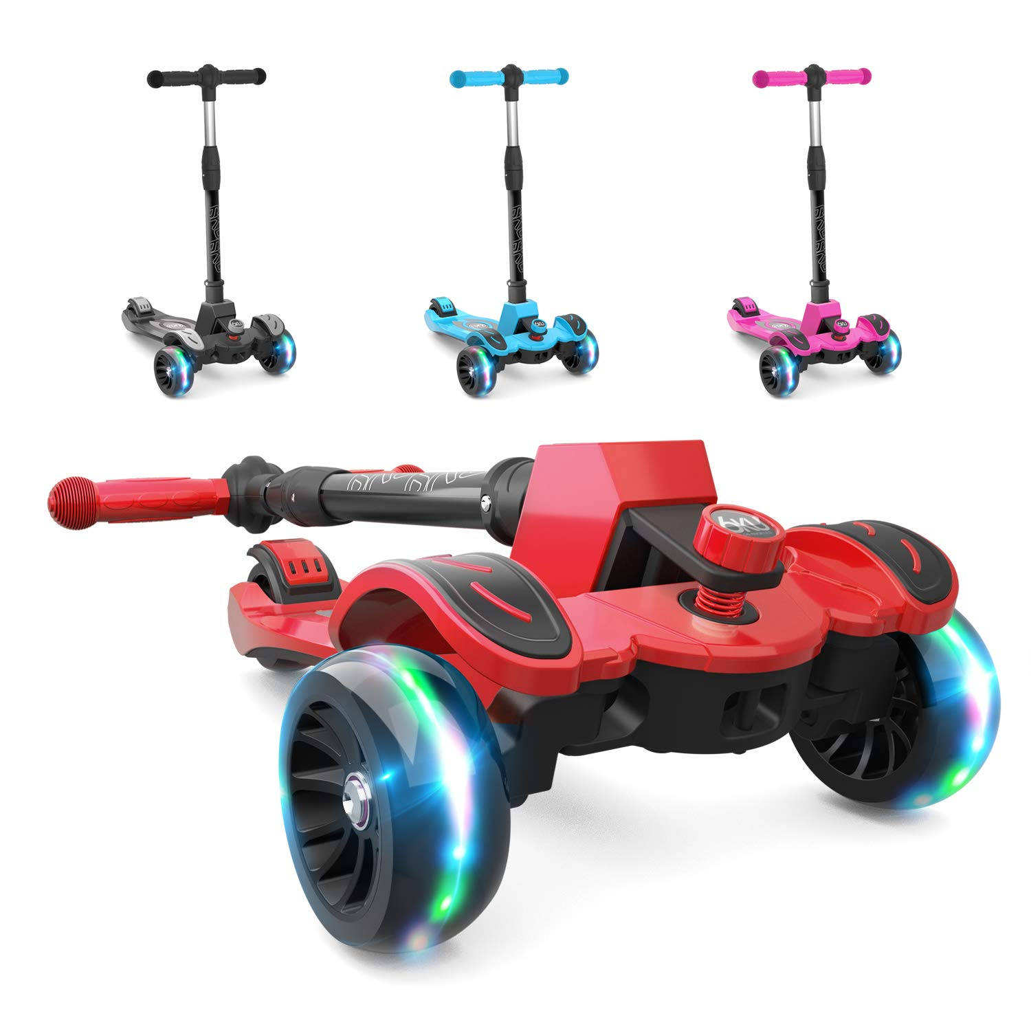 6KU Kick Scooter for Kids & Toddlers Girls or Boys with Adjustable Height, Lean to Steer, Flashing Wheels for Toy Children 3-8 Years Old Red by 6KU (Image #1)