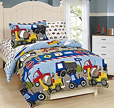 Mk Collection Twin Size Trucks Tractors Cars Kids/boys 5 Pc Comforter and Sheet Set Blue Red Yellow New