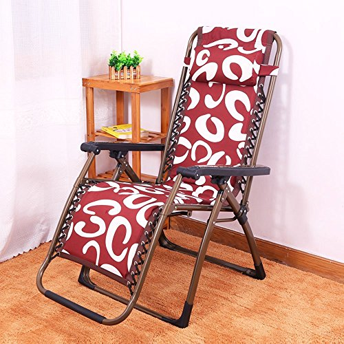 DIDIDD Plus cotton thick folding chairs recliner reinforced steel pipe folding chairs afternoon chair lazy loungers (style optional),A by DIDIDD (Image #4)