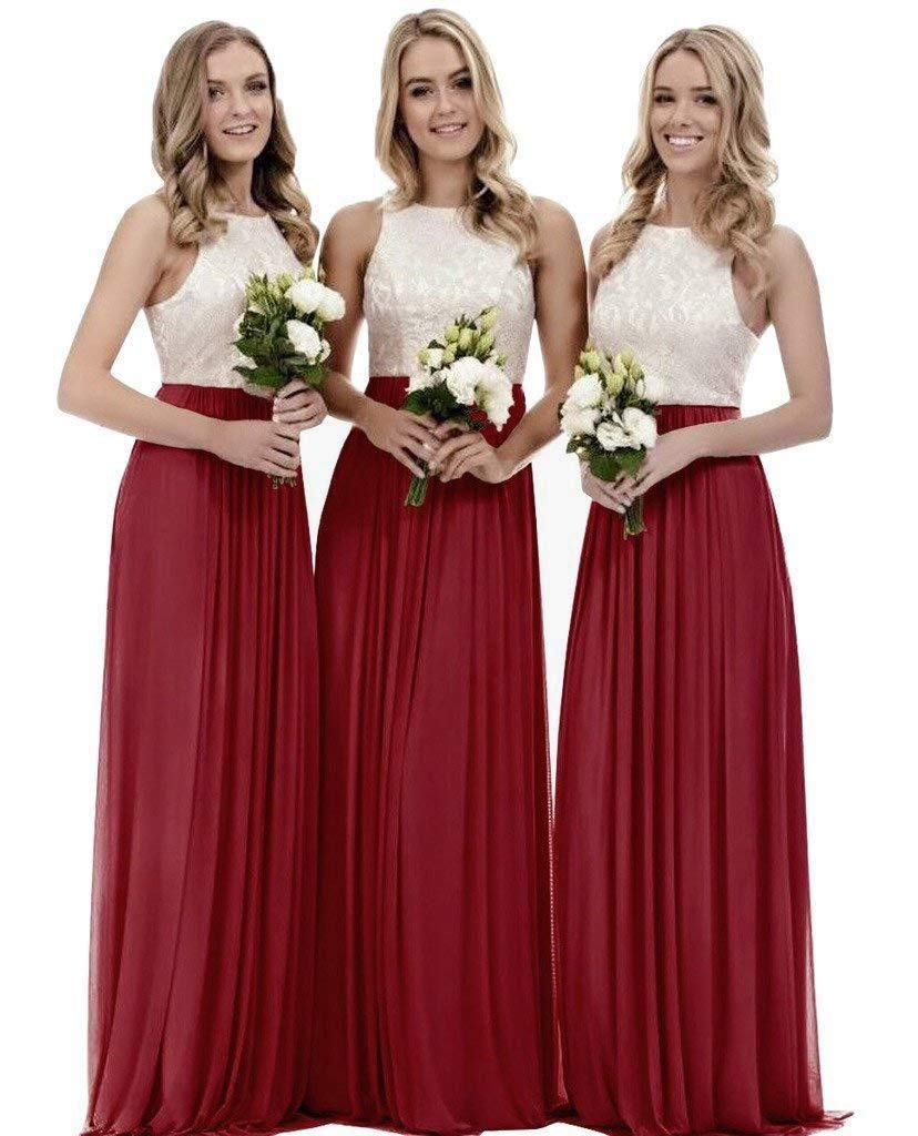 Lace Bridesmaid Dresses Long Chiffon A Line Evening Wedding Party Gown For Womens Burgundy 10