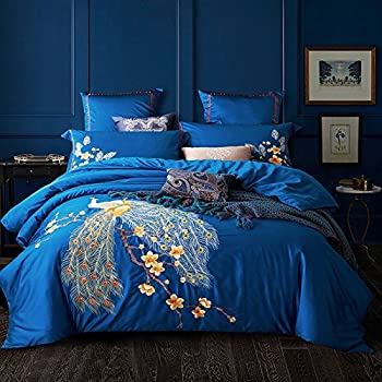 Fly Wing To Wing Wedding Bed Set 100% Cotton Embroidered Peacock Duvet  Cover Sets Full