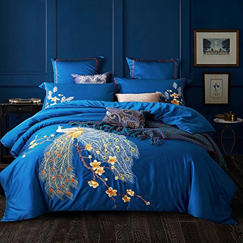 Fly Wing To Wing Wedding Bed Set 100% Cotton Embroidered Peacock Duvet Cover Sets Full Blue
