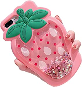 Unique iPhone 7 Case, Cute 3D Creative Soft Feeling Silicone Phone Case Cover for Apple iPhone 7 Liquid Pink Strawberry
