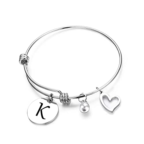 b9d8328a2 ZNTINA Initial Bracelet Letter Bracelet with Heart Charm Personalized  Jewelry Wire Bangle Bracelet Gift for her