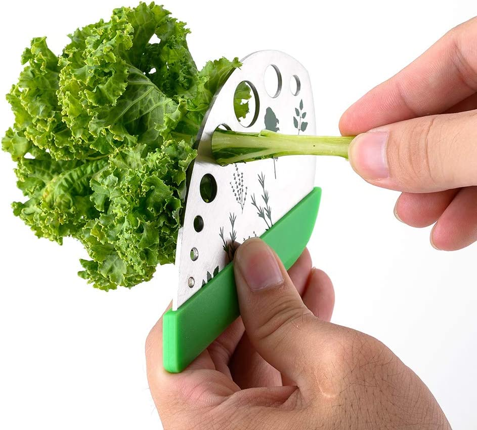 Hovely Stem and Leaf Separator Stainless Steel Herb Peeling Tool, 3 in 1, 9 Holes for Kale, Chard, Collard Greens, Thyme, Basil, Rosemary (1 pack)