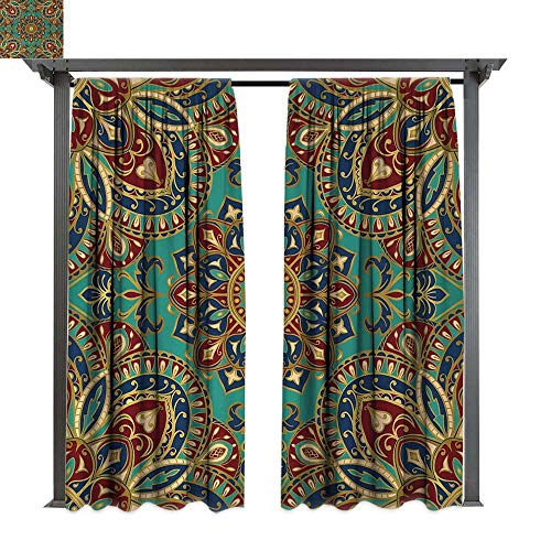 Mandala, Indoor/Outdoor Single Panel print Window Curtain, Pattern with Mandala Style Eastern Medieval Arabesque Motifs Oriental Ethnic, Keep Warm Draperies (W120 x L96 Inches, Red Green Blue)