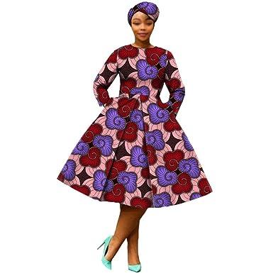RealWax Vestido Africano para Mujer, Vestido de Fiesta ...