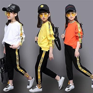 c6d9780c85c16 Amazon | キッズ ヒップホップ ジャズ ダンス衣装 子供 サルエルパンツ 女の子 Tシャツ ダンス セットアップ 上下2点セット スウェット  ステージ衣装 グループ ...