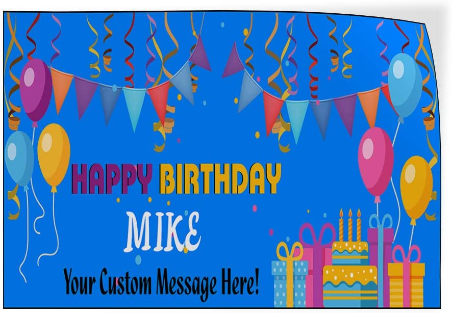 Custom Door Decals Vinyl Stickers Multiple Sizes Happy Birthday Boy Name Message Blue Holidays and Occasions Happy Birthday Outdoor Luggage /& Bumper Stickers for Cars Blue 54X36Inches Set of 5