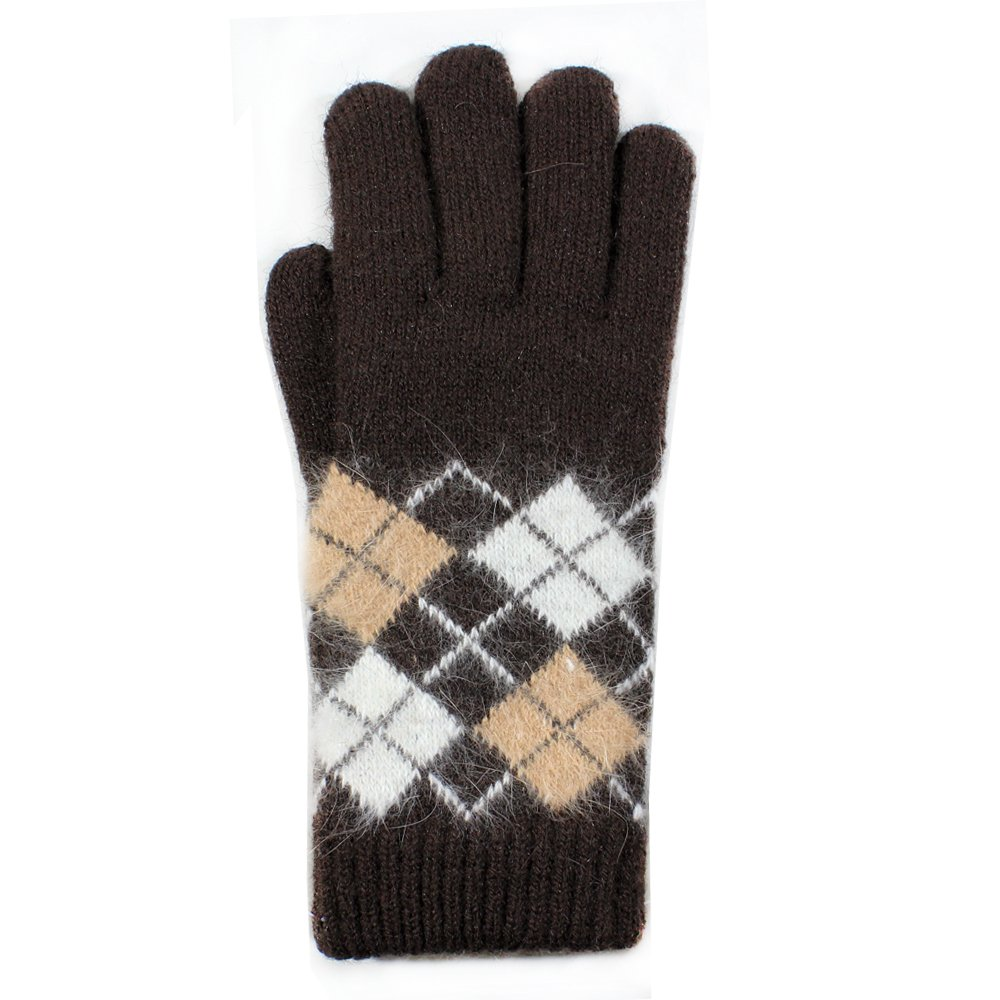 LL- Womens Warm Winter Knit Fashion Gloves, Angora Blend Fleece Lined- Argyle Pattern, Assorted Colors (Brown)
