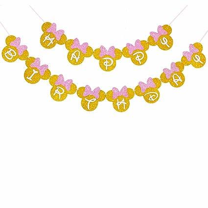 Amazoncom Pink And Gold Glitter Minnie Happy Birthday Banner Girls