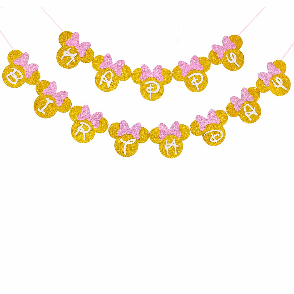 Pink And Gold Glitter Minnie Happy Birthday Banner Girls Birthday Themed Party Decoration