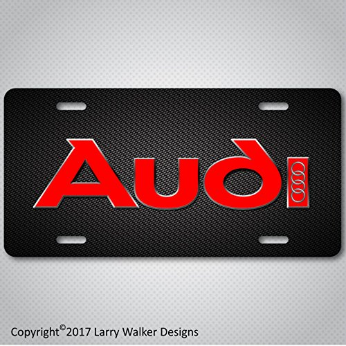 (AUDI Logo on Carbon Fiber Look Aluminum License Plate Tag New )