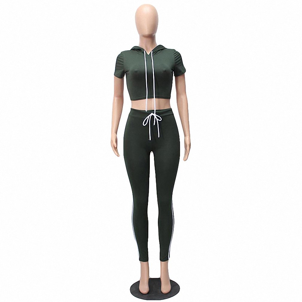 Army Green New New Style Women Bodycon Cotton Jumpsuit Summer Long Solid Hooded Short Sleeve Two Piece Rompers Sexy Jumpsuits