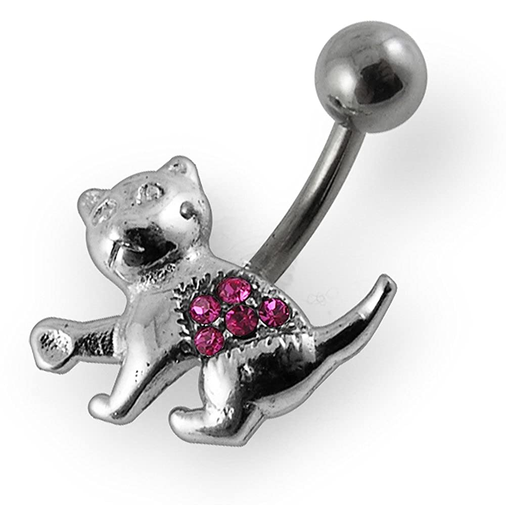 Fancy Cute Cat 925 Sterling Silver with Stainless Steel Belly Button Navel Rings