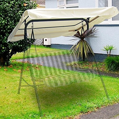 Flexzion Swing Canopy Cover (Ivory) 75'x52' - Deluxe Polyester Top Replacement UV Block Sun Shade Waterproof Decor for Outdoor Garden Patio Yard Park Porch Seat Furniture