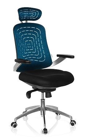 Hjh OFFICE 719290 Chaise De Bureau Siege Pivotant GENUA PRO Bleu Noir