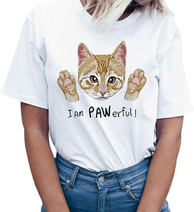 Tosonse Camiseta para Mujer Tops Blusa Tanques con Estampado De Gato Camisas De Manga Corta Camiseta con Cuello Redondo Clásica Túnica De Oficina: Amazon.es: Ropa y accesorios