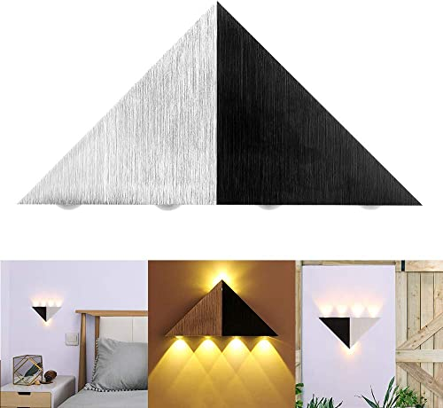 5W LED Wall Sconce Light, ALLOMN 5-LED Triangle Shape Up and Down Wall Lamp Spot Light Fixture Decorative Lighting Night Light for Bedroom Theater Studio Restaurant Hotel