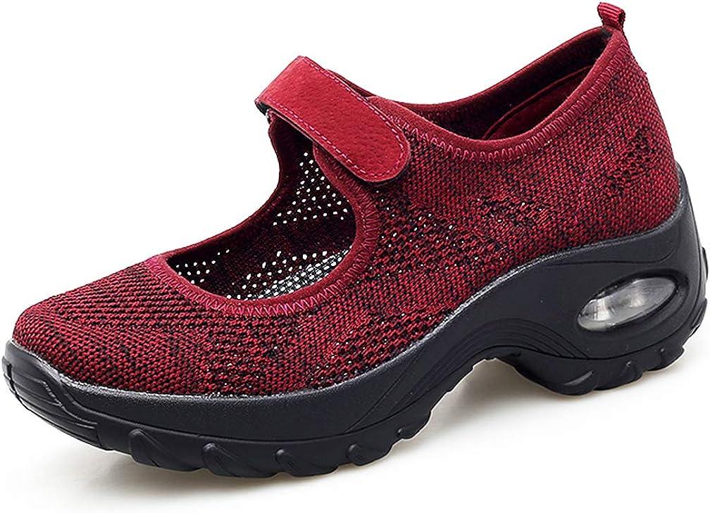 Amitafo Sandales Femmes Maille Chaussures de Marche Fitness Baskets Mode Compens/ées Mary Janes pour Femme Casuel Confort Mocassins Loafers Chaussures de Sport Et/é