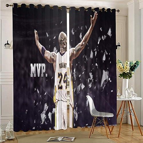 Zmacdk Decor Living Room Curtains 2 Panel Sets Basketball Kobe Bean Bryant Print Sliding Curtains