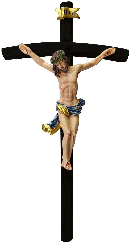 Kaltner Pr/äsente Crucifijo de Pared de 35 cm con Figura de Jes/ús Christus en Cruz de Madera Pintada a Mano