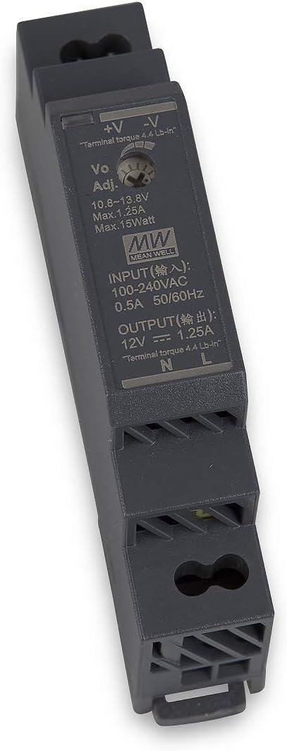 HDR-15-12 - Transformador LED para iluminación LED (adaptador DIN-Rail) Mean Well HDR-15-12 12 12 V CC, 15 W)
