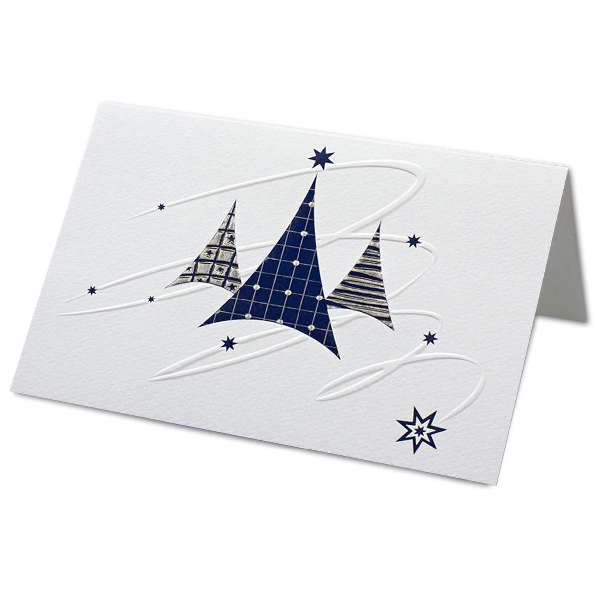 Set di biglietti di Natale con busta DIN B6 – qualità professionale – 17 x 11, 5 cm – cartoncino martellato con goffratura blu/argento e stampa cieca. 100 Sets Neuser