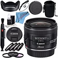 Canon EF 28mm f/2.8 IS USM Lens 5179B002 + 58mm 3pc Filter Kit + 58mm Macro Close Up Kit + Lens Pen Cleaner + 58mm Tulip Lens Hood + Deluxe Cleaning Kit Bundle