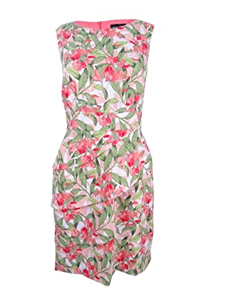 853fe6d3 Connected Women's Floral-Print Sheath Dress (16, Melon) Pink at Amazon Women's  Clothing store: