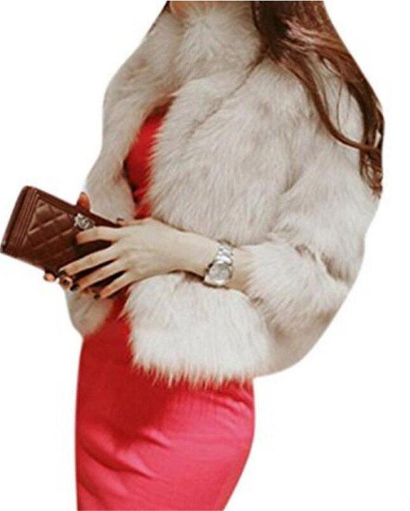Women's Elegant Short Faux Fur Coat Winter Warm Fur Jacket Overcoat Outerwear