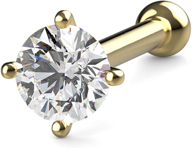 20g 2mm Real Diamond 14kt White Gold Nose Screw