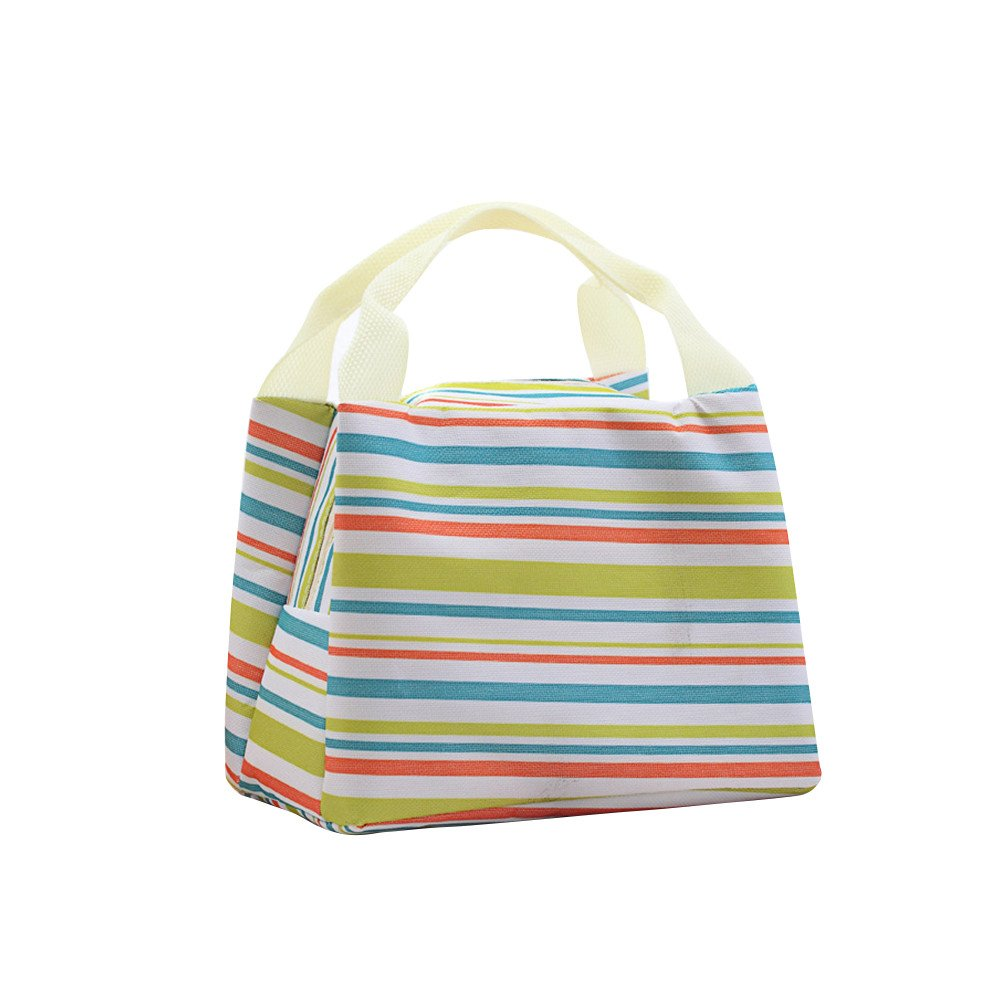Lunch bags Hot Sale# Lunch Boxes Striped insulation bags Tote Storage Picnic Bags for Women Ladies Student Duseedik Clearance (green)