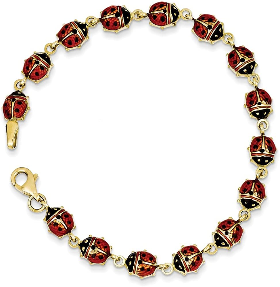 Roy Rose Jewelry Sterling Silver Enameled Red Ladybug