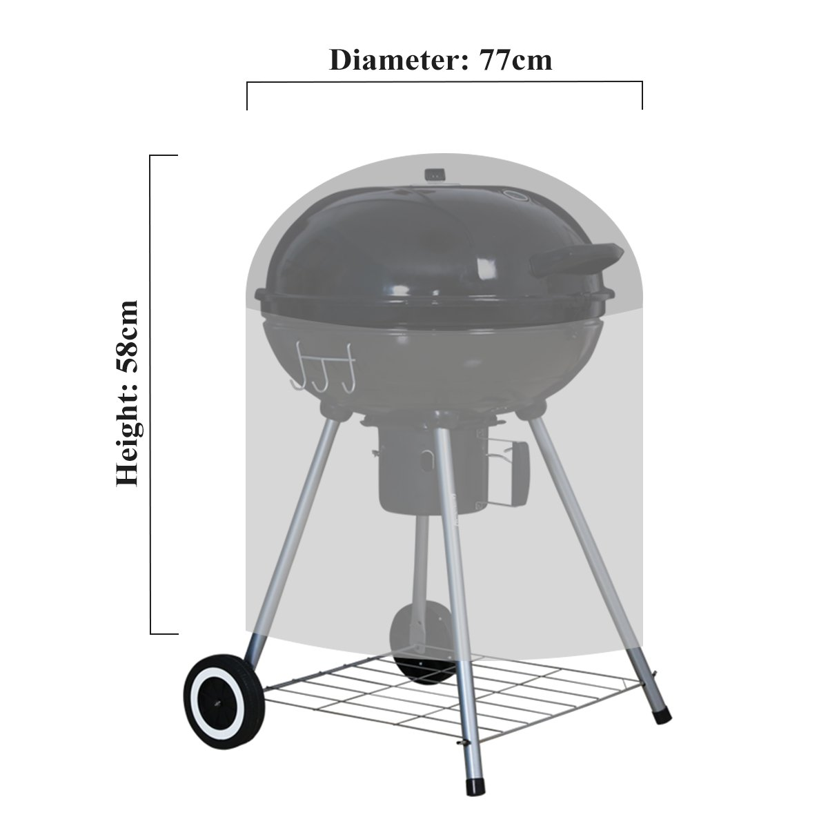 Ankier Waterproof Polyester Round BBQ Grill Cover with Drawstring Cord Large 30 Inch Barbecue Cover Black