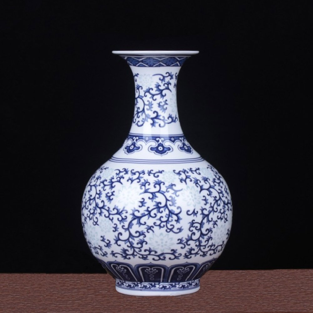 Blue and White Porcelain Vase for Home and Office Decor (5.5 × 5.5 × 9.5 Inches, Blue and White)